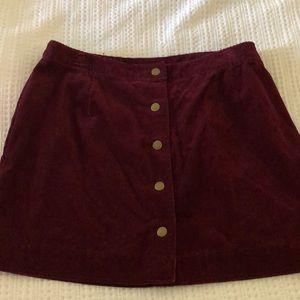 Maroon corduroy mini skirt